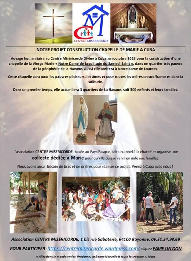 Collecte construction chapelle Marie au centre misericorde divine havane